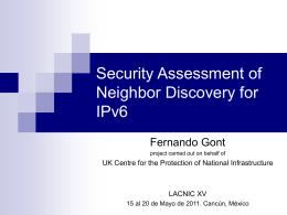 IPv6 - Fernando Gont