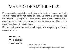 """Presentación """"Manejo de materiales"""""""