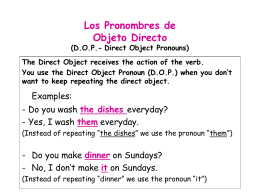 DOP- Direct Object Pronouns
