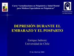 Depresión Posparto - Sociedad Chilena de Salud Mental