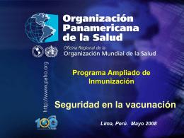 Programa Ampliado de Inmunización Seguridad en la vacunación