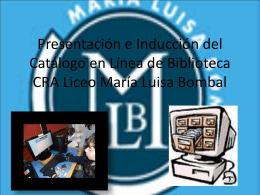 Capacitación de Catálogo en línea de Biblioteca CRA Liceo María