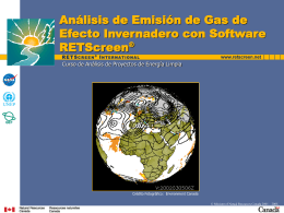 Greenhouse Gas Analysis with RETScreen Software