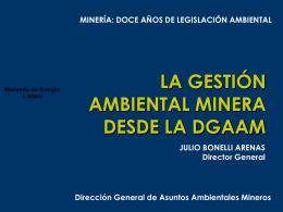 La Gestión Ambiental Minera