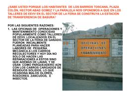 1. las oficinas de operaciones y mantenimiento conocidas