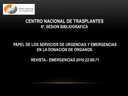 papel de los servicios de urgencias y emergencias en la donacion