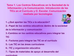 Tema 1. Los centros educativos en la sociedad de la información