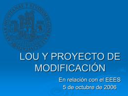 LOU Y PROYECTO DE MODIFICACIÓN