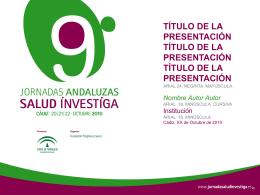 Plantilla - X Jornadas Andaluzas Salud Investiga