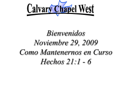 Acts 21: 1-6 - Calvary Chapel West