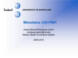 OAI-PMH - Universitat de Barcelona