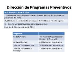Informe de actividades de la Dirección de Programas Preventivos