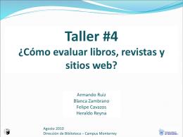 Taller #4 ¿Cómo evaluar libros, revistas y sitios web?