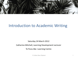 Introduction to Academic writing slides