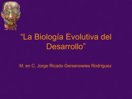 """""""La Biología Evolutiva del Desarrollo"""""""