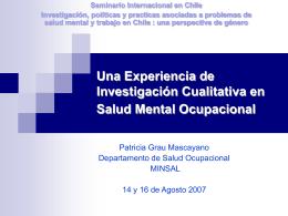 Una Experiencia de Investigación Cualitativa en Salud Mental