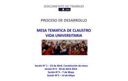 Mesa Temática Vida Universitaria, Actas de Trabajo, mayo 2014.