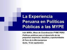 La Experiencia Peruana en Políticas Públicas