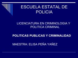 politica criminal - Departamento Nacional de Misiones