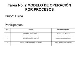 Tarea No. 2 MODELO DE OPERACIÓN POR PROCESOS