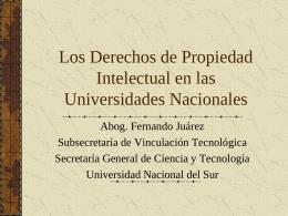 Los Derechos de Propiedad Intelectual en las Universidades