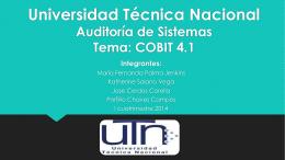 Universidad Técnica Nacional Calidad del Software Tema: COBIT