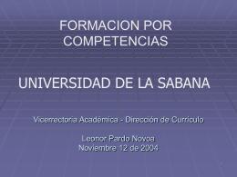 UNIVERSIDAD DE LA SABANA Vicerrectoria Académica
