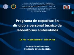 """Bolivia. """"Programa de capacitación dirigido a personal"""