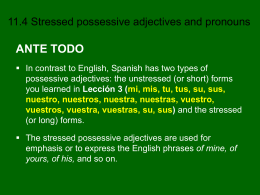 11.4 Stressed Possessive Adjectives and Pronouns