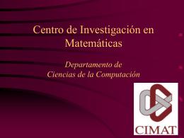Centro de Investigación en Matemáticas Departamento de