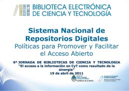 El Sistema Nacional de Repositorios Digitales en Ciencia y