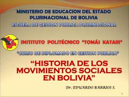 Historia Movimientos Sociales Bolivia