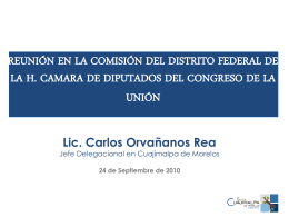 Reunión en la Comisión del Distrito Federal de la H. Cámara de