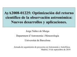 PROYECTO AyA2008-01225 - Departament d`Astronomia i