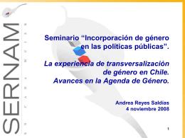 """""""Incorporación de género en las políticas públicas""""."""