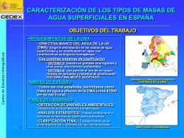 Caracterización y tipologías de masas de agua superficial