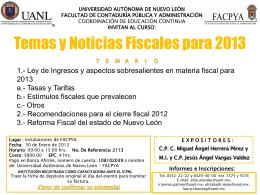 Temas y Noticias Fiscales para 2013