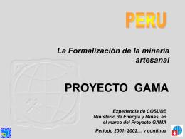 Formalización de la Minería Artesanal Peru
