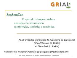 SenSemCat: Corpus de la lengua catalana anotado con información