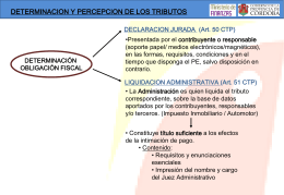 DETERMINACION Y PERCEPCION DE LOS TRIBUTOS