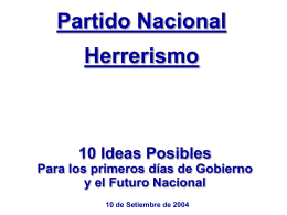 """""""10 ideas posibles"""". Documento presentado por el"""