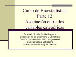 Curso de BioestadísticaParte 12Asociación entre dos variables