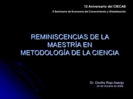 REMINISCENCIAS DE LA MAESTRÍA EN METODOLOGÍA