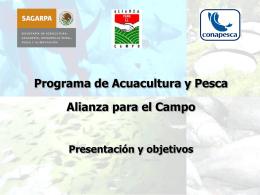 Presentación y objetivos del Programa Acuacultura