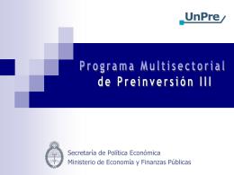 Programa de Preinversión III - Gobierno de la Provincia de Entre Ríos
