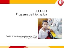 II PGDFI Programa de Informática - Federación Internacional de Fe y
