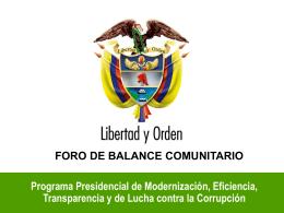 FORO DE BALANCE COMUNITARIO Programa