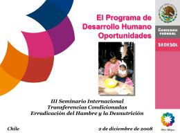 El Programa de desarrollo humano de oportunidades