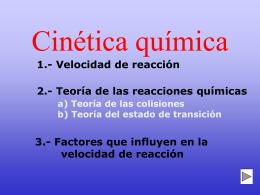 Cinética química - Bienvenidos al Colegio Cristo Rey de Las Rozas