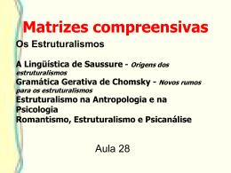 Os Estruturalismos A Lingüística de Saussure - Origens